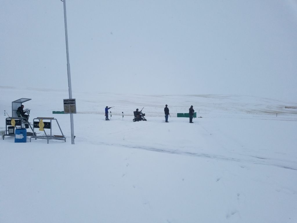 Colton GC had seven or eight squads of shooters for their Feb. 24 shoot despite falling and drifting snow throughout the day.
