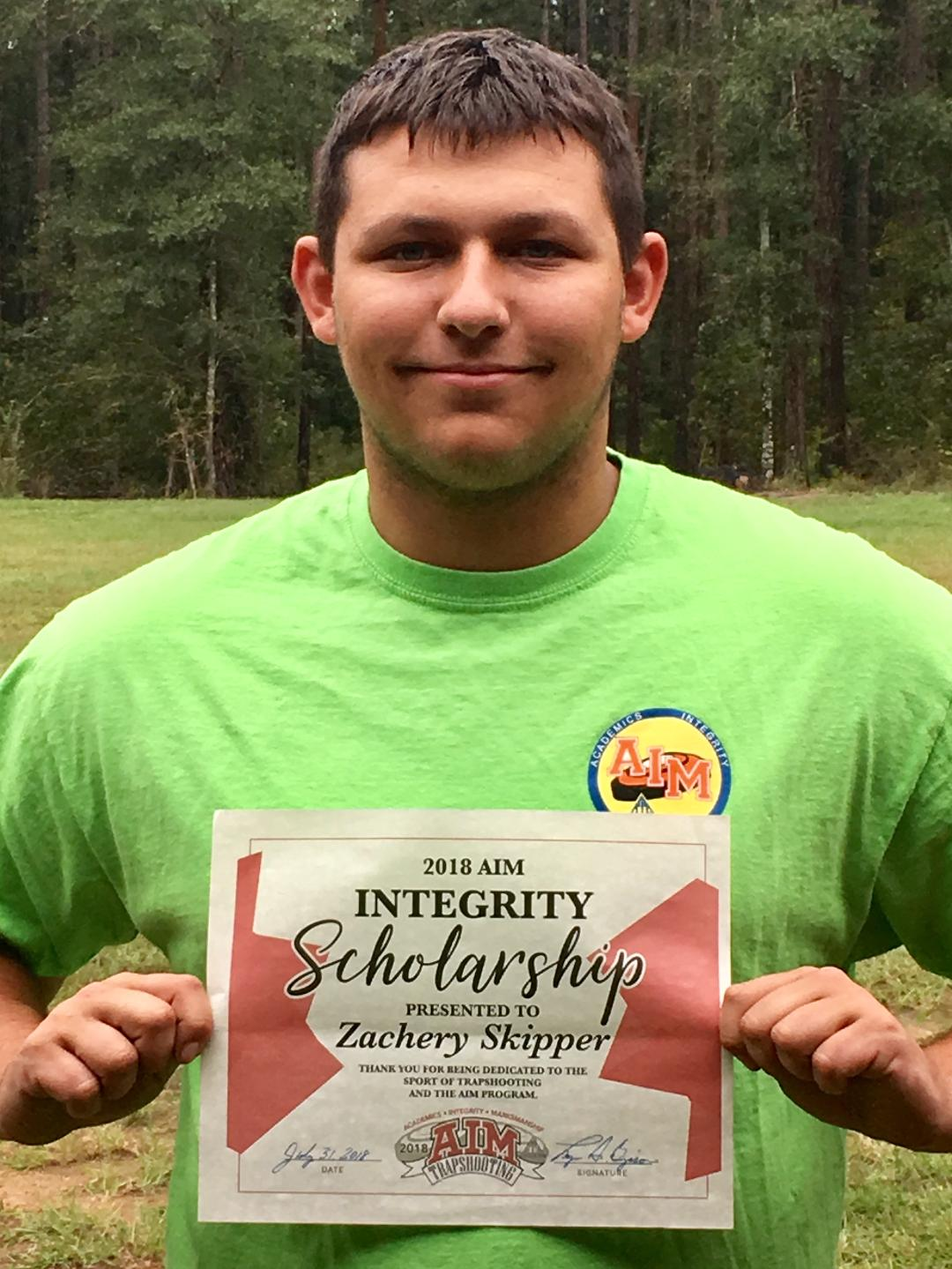 Zach Skipper was awarded an AIM Integrity scholarship during the AIM Grand Nationals in Sparta.