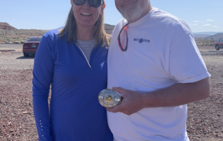 Dewey and Cheryl Daniels attended the Purgatory CS March shoot, where Dewey won the handicap with 99.