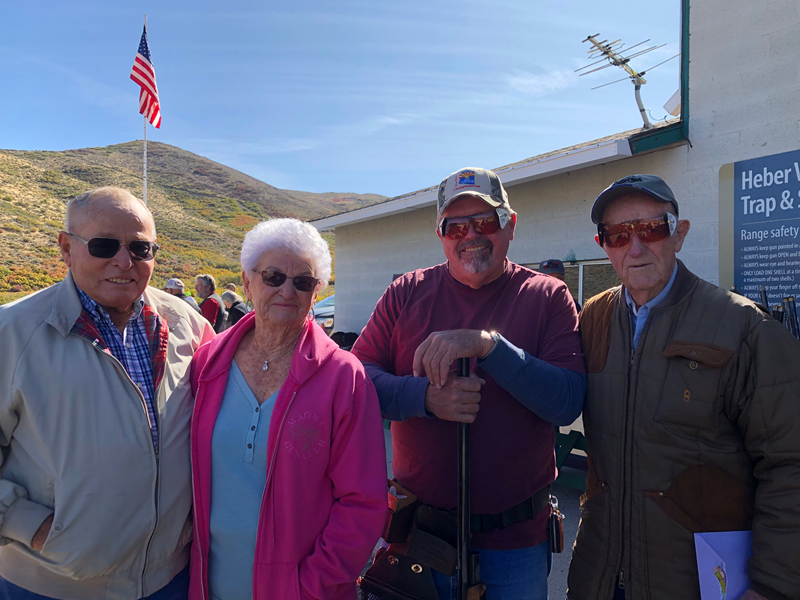 "Heber Valley GC held an appreciation shoot for Jim Duke (right). Other ""pioneers"" of Utah trapshooting who attended were Byron and Pauline Deleeuw and Joe Sudbury."