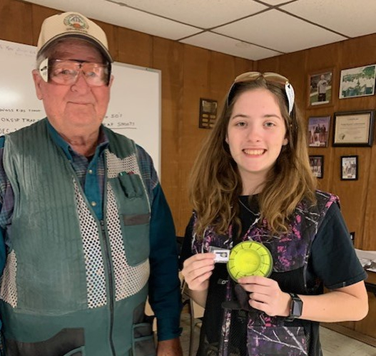 ATA Delegate Tim Deister congratulated new ATA shooter Zoe Traylor, who recently won the singles and handicap at an Ada GC Big 50 shoot.
